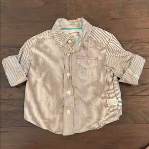 3 items/ $15 - Brown Striped Button Up Shirt